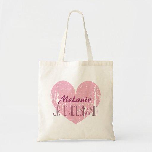 Personalized junior bridesmaid tote bag for girl bags