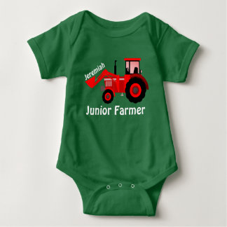 "Personalized ""Junior Farmer"" and Red Tractor Baby Bodysuit"