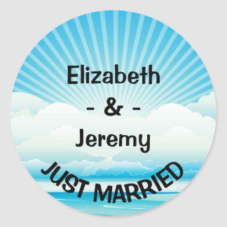 Personalized Just Married Blue Nautical Wedding Classic Round Sticker