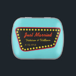 """Personalized Just Married Sign Tin<br><div class=""""desc"""">A fun retro style sign decorates this tin. Personalize this candy tin by changing the names and date to suit your needs. Use these fun tins for wedding favors,  etc... .. The design is from original art.</div>"""