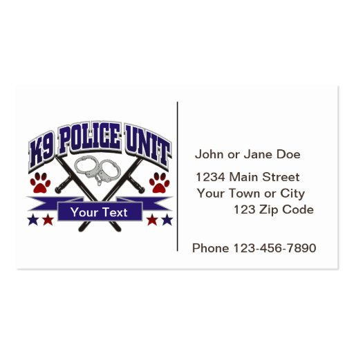 Personalized K9 Police Unit Business Cards