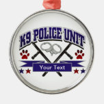 Personalized K9 Police Unit Round Metal Christmas Ornament
