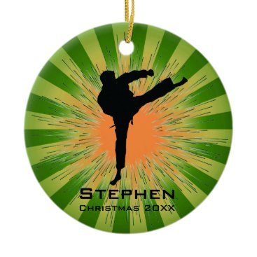 Christmas Themed Personalized Karate Ornament