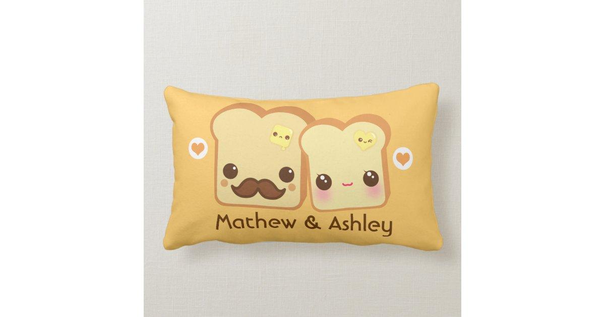 Personalized - Kawaii cute toasts couple Pillow Zazzle