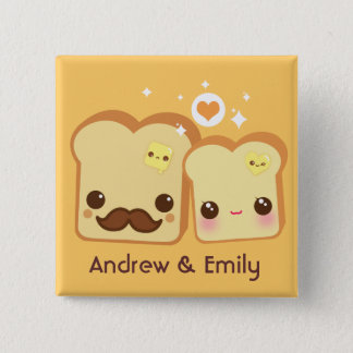 Personalized - Kawaii cute toasts couple Pinback Button