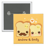 Personalized - Kawaii cute toasts couple Pins