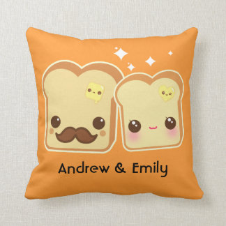 Personalized - Kawaii cute toasts couple Throw Pillows