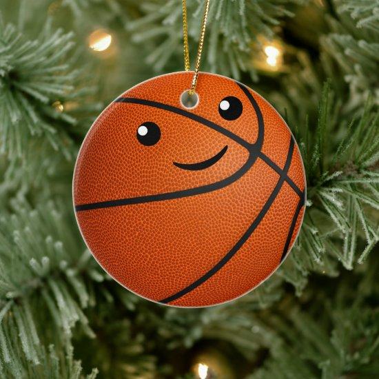 personalized kawaii girls basketball ceramic ornament