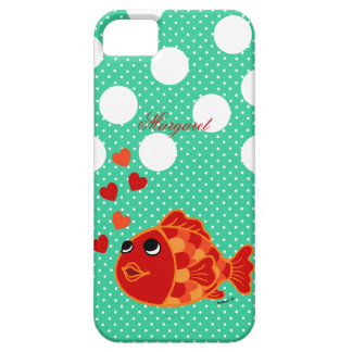 Personalized Kawaii Goldfish Cartoon with Hearts iPhone SE/5/5s Case