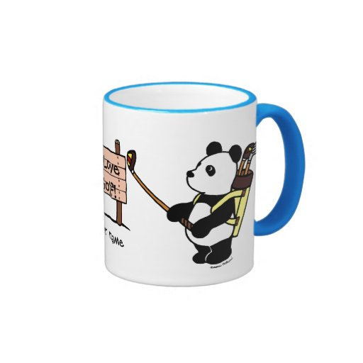 Personalized Kawaii Panda Golfer Ringer Coffee Mug