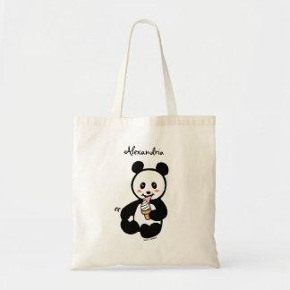 Personalized Kawaii Panda Ice Cream Cartoon Tote Bag