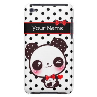 Personalized Kawaii panda on black polka dots casematecase
