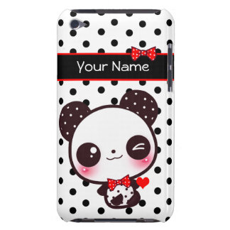 Personalized Kawaii panda on black polka dots Case-Mate iPod Touch Case