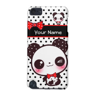 Personalized Kawaii panda on black polka dots iPod Touch (5th Generation) Cover