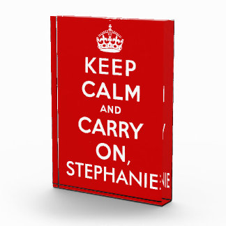 Personalized Keep Calm and Carry On Desk Plaque