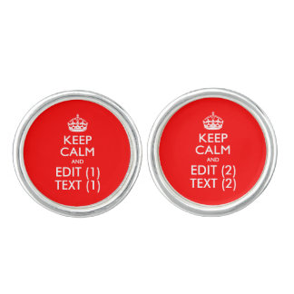 Personalized KEEP CALM AND Edit Dual Text EASILY Cufflinks