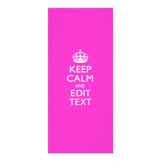 Personalized Keep Calm And Edit Text Hot Pink Rack Card