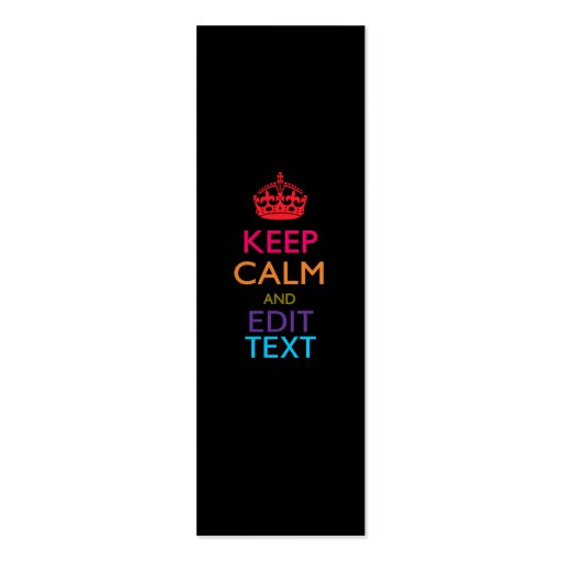 Personalized KEEP CALM AND Edit Text Multicolor Business Card Template