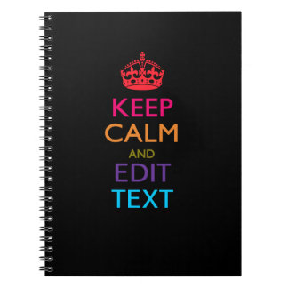 Personalized KEEP CALM AND Edit Text Multicolor Spiral Notebook