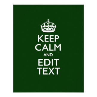 Personalized KEEP CALM AND Edit Text on Green Flyer