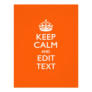 Personalized KEEP CALM AND Edit Text on Orange Flyer
