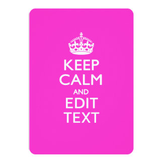 Personalized KEEP CALM AND Edit Text on Pink Card