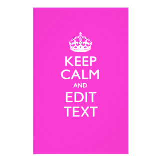 Personalized KEEP CALM AND Edit Text on Pink Flyer