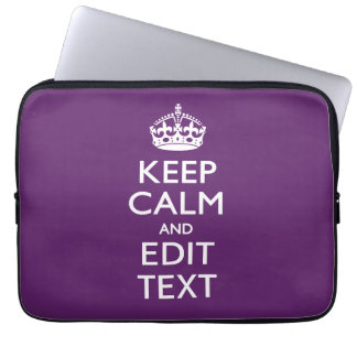 Personalized KEEP CALM AND Edit Text on Purple Computer Sleeve