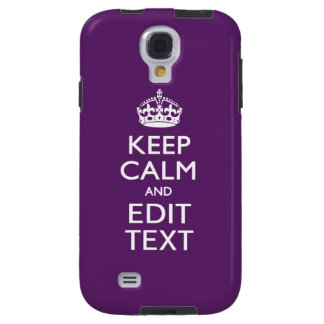 Personalized KEEP CALM AND Edit Text on Purple Galaxy S4 Case