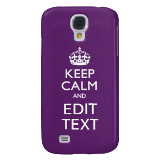 Personalized KEEP CALM AND Edit Text on Purple Samsung Galaxy S4 Cover