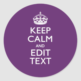 Personalized KEEP CALM AND Edit Text on Purple Stickers