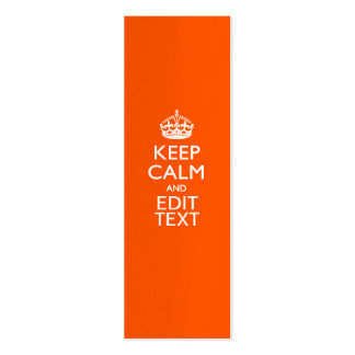 Personalized KEEP CALM AND Edit Text Orange Business Card