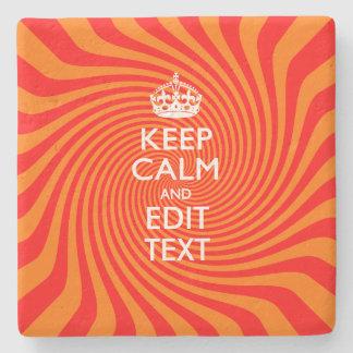 Personalized KEEP CALM AND Edit Text Orange Swirl Stone Coaster