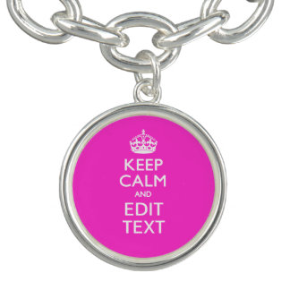 Personalized KEEP CALM AND Edit Text Charm Bracelet