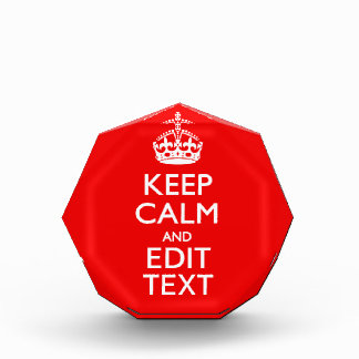 Personalized Keep Calm And Edit Text Red Decor Award