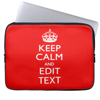 Personalized Keep Calm And Edit Text Red Decor Laptop Computer Sleeve