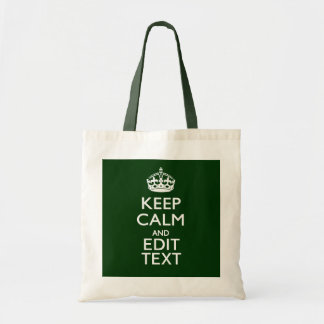 Personalized Keep Calm And Have Your Text on Green Tote Bag