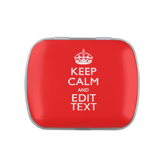 Personalized Keep Calm And Have Your Text on Red Jelly Belly Tins