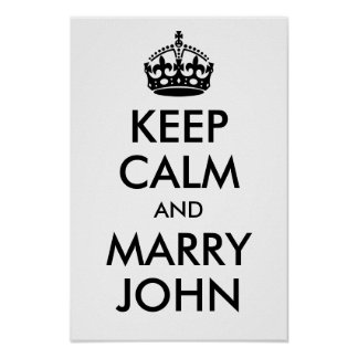 Personalized Keep Calm and Marry On Black Poster