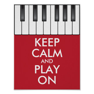 Personalized KEEP CALM and PLAY ON -Keyboard piano Poster