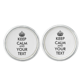 Personalized KEEP CALM and YOUR TEXT - black Cufflinks