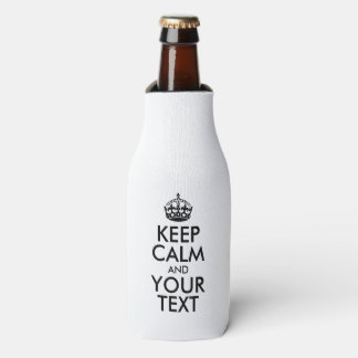 Personalized KEEP CALM and YOUR TEXT - black words Bottle Cooler