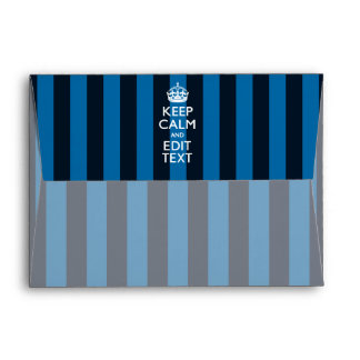 Personalized KEEP CALM AND Your Text Blue Stripes Envelope