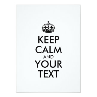 Personalized KEEP CALM and YOUR TEXT Card