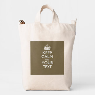 Personalized KEEP CALM And Your Text Decor Duck Bag