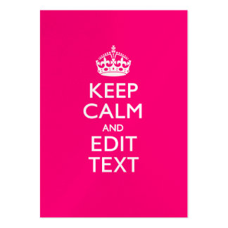 Personalized KEEP CALM AND Your Text EASILY PINK Business Cards