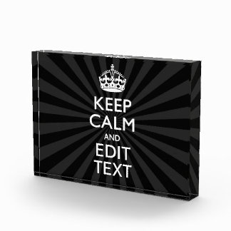 Personalized KEEP CALM and your text on burst Award