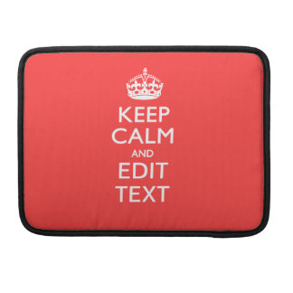 Personalized KEEP CALM and your text on Coral MacBook Pro Sleeve