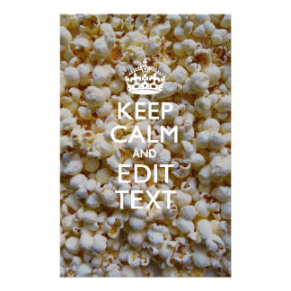 Personalized KEEP CALM AND Your Text on Popcorn Stationery