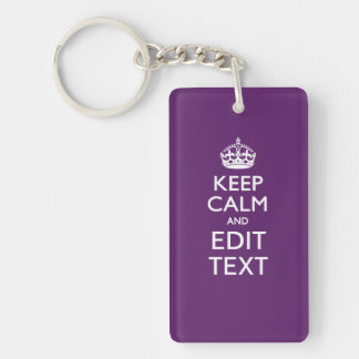 Personalized KEEP CALM AND Your Text on Purple Keychain